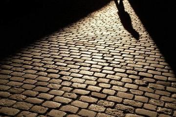 Single Shadow on Brick Path