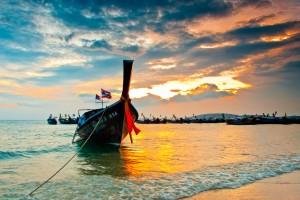 A Longboat Ashore in Krabi, Thailand