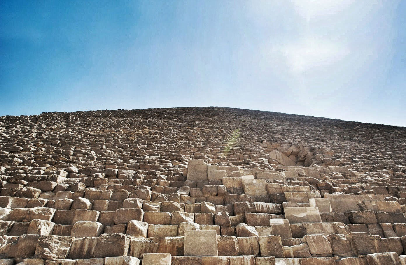 Intricate stonework of Egypt's Great Pyramid of Giza (low angle)