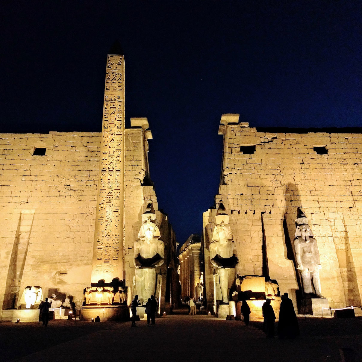 The entrance to Egypt's Luxor Temple at night
