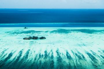 Aerial shot of Maldives