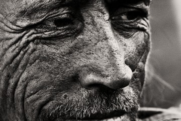 Closeup black and white (b&W) portrait of man from Anadalucia