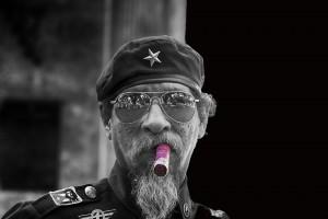 Man Smoking Cigar in Havana, Cuba (B&W)