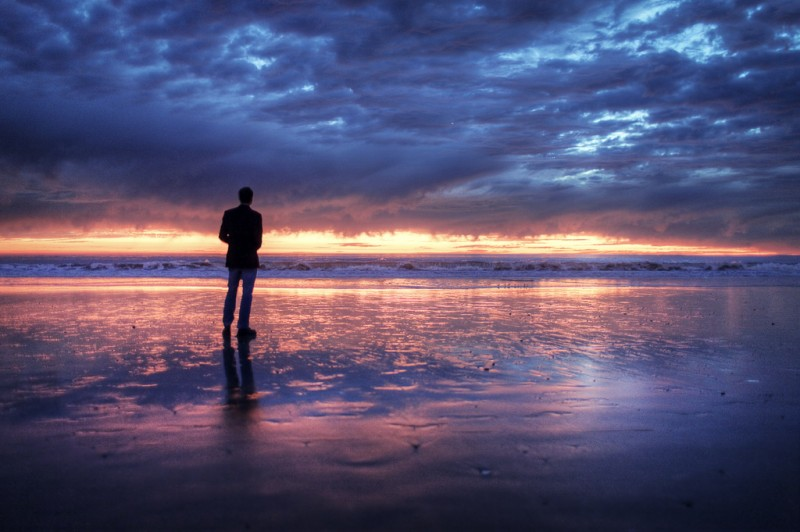 Man on Venice Beach at Sunset, California