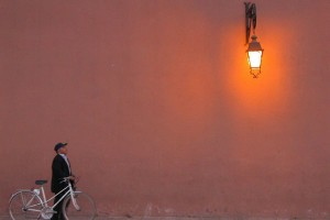 Man with bicycle in Marrakech, Morocco