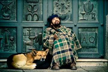 Street Guy with Dog, Chile