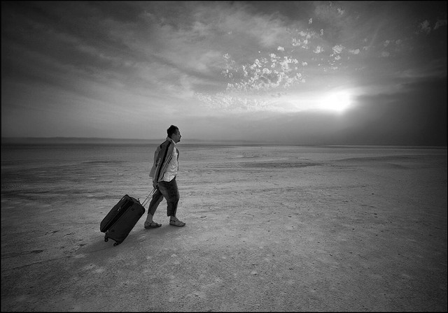 Man with Suitcase (black & white)