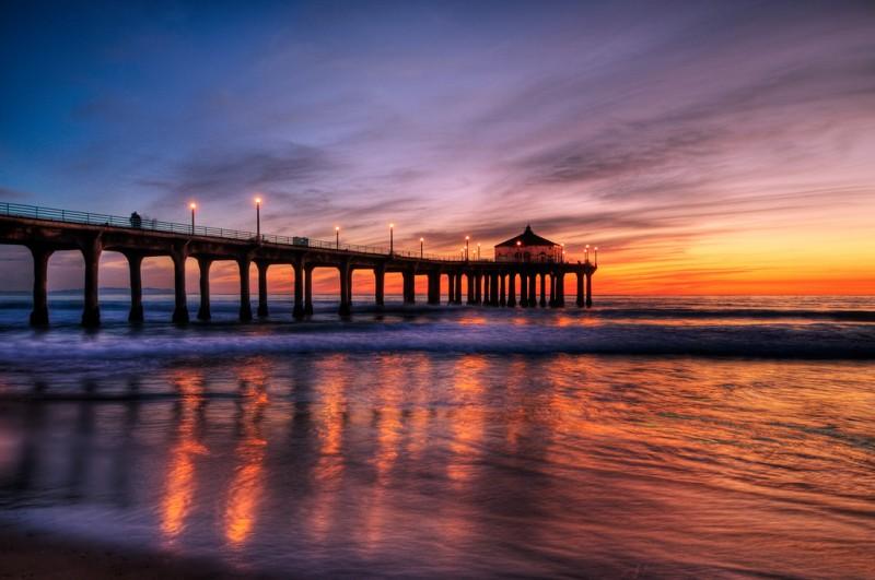 Sunset Over Manhattan Beach Pier Near Los Angeles California
