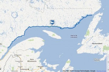 Map of the Route de Baleines (Whale Route), Quebec