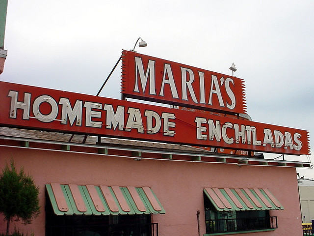 Sign for 'Maria's Homemade Enchiladas' in Mexico
