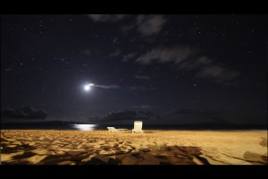 Two beach chairs in the moonlight on Maui, Hawaii