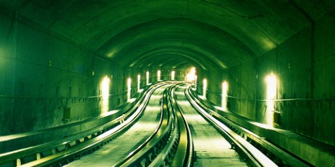 Metro subway tunnel in Montreal, Quebec, Canada