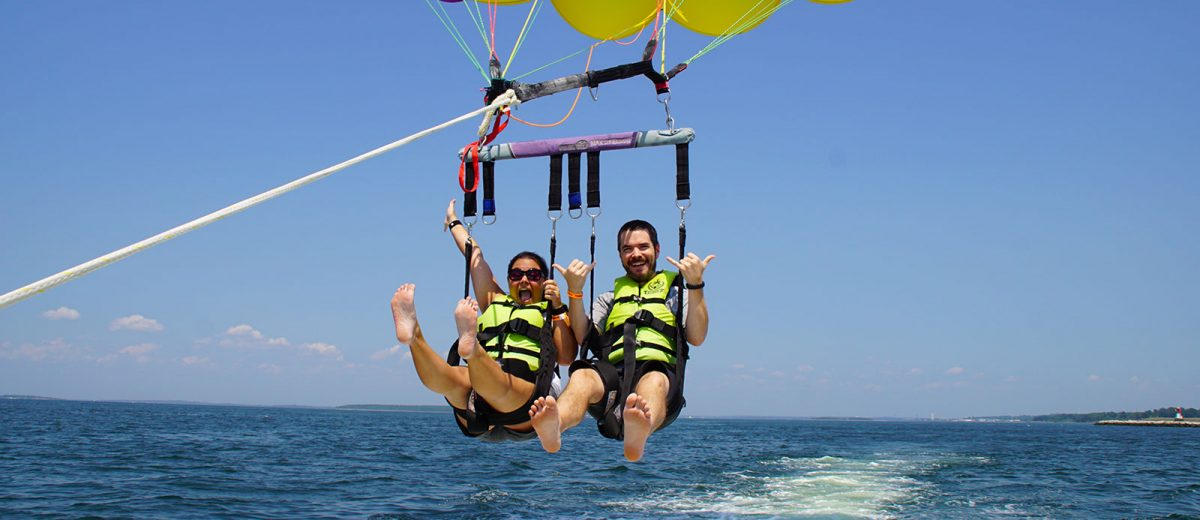Mike and Kelsey parasailing in Newport, Rhode Island