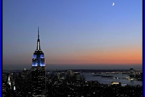 Moon Over the Empire State Building, New York City