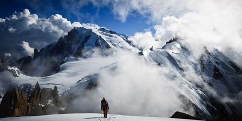 Nic Mullin descending Aiguille du Plan, Chamonix, France