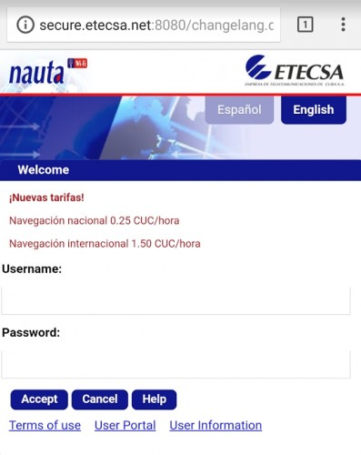 NAUTA Internet Login Screen