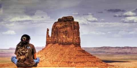 Navajo Girl Overlooking Window Rock, Arizona