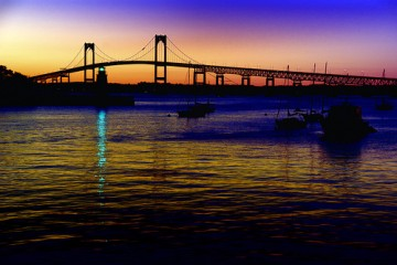 Sunset over the Newport Bridge in Rhode Island