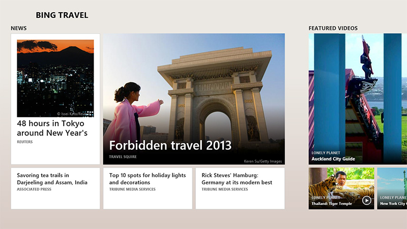 Travel News and Article Display in Bing Travel App (screenshot)