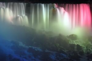 Niagara Falls at Night in American Colors