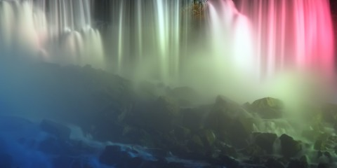Niagara Falls at Night in American Colors