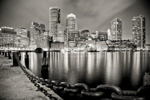 Boston Harbor at Night, Massachusetts