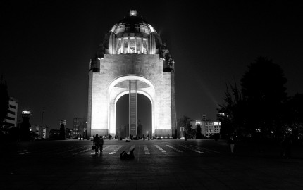 People walking at night in Mexico City, Mexico D.F.