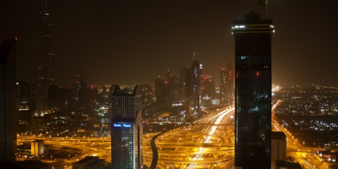 Skyline of Dubai at night