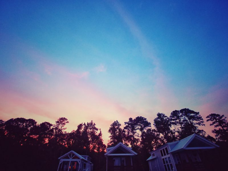 Sunset over the cabins at CreekFire Motor Ranch (in Savannah)