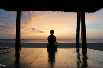 Meditating on the beach, Vietnam
