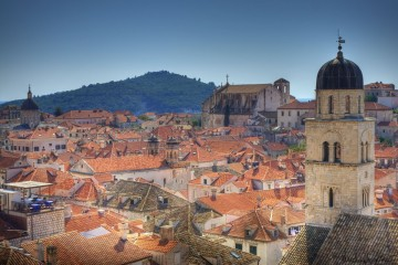 High angle of Old Town in Dubrovnik, Croatia