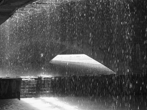 Falling rain captured from under a bridge in Iran (black and white)