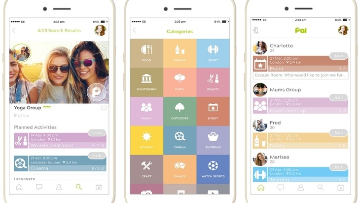 Pal mobile smartphone app (screenshots)