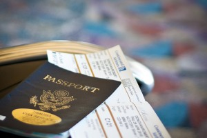 Closeup of a passport and airline ticket