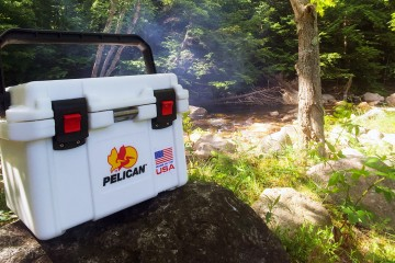 Pelican 20QT Elite cooler near a stream in New Hampshire