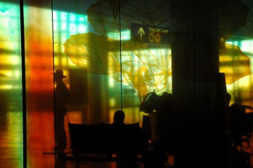 Silhouette in Seattle Airport
