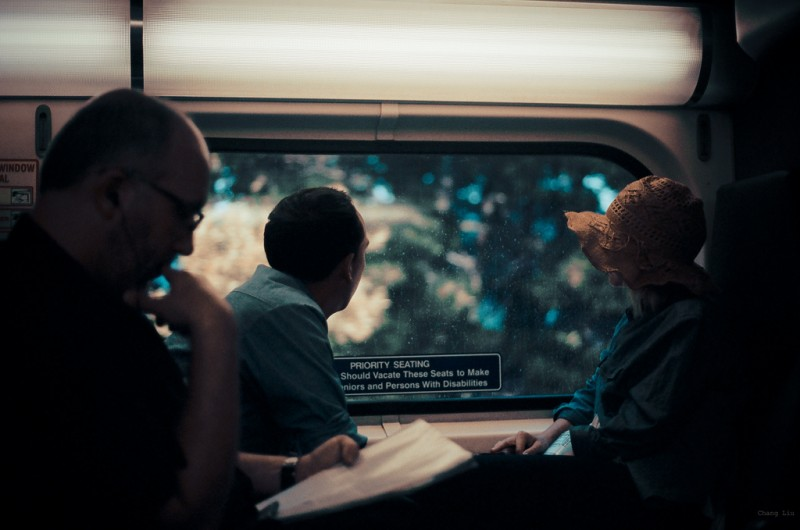 People Watching on the Train, San Francisco, California