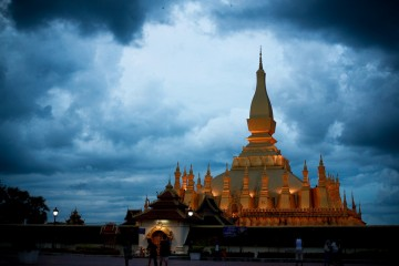 Black Sky Over Pha That Luang, Vientiane, Laos