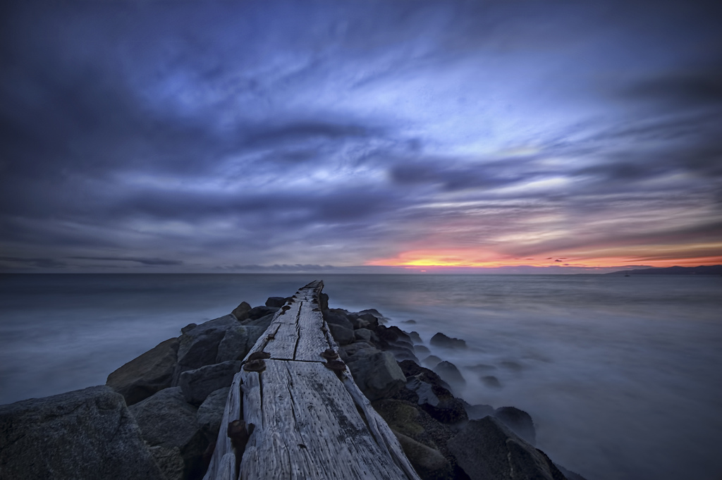Pier stretching into the Pacific Ocean in El Segundo, California