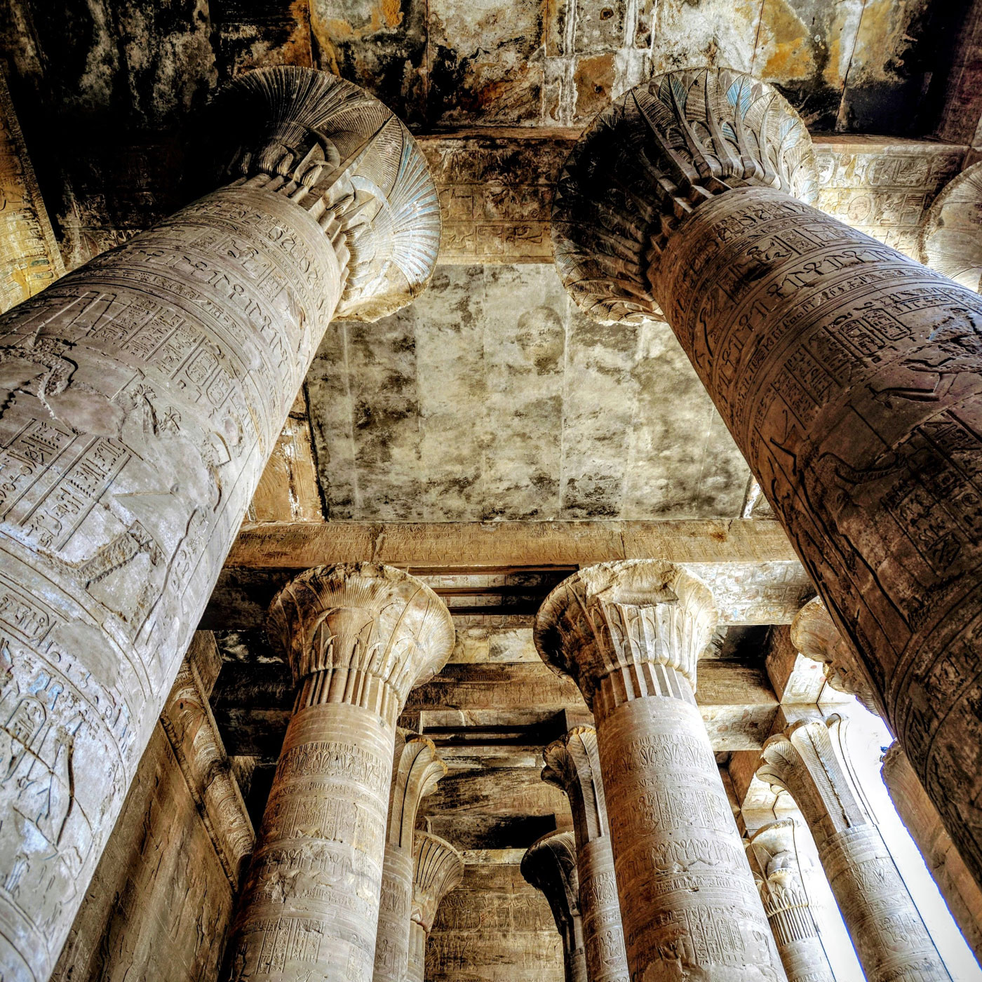 View to the pillars and ceiling of Egypt's Edfu Temple