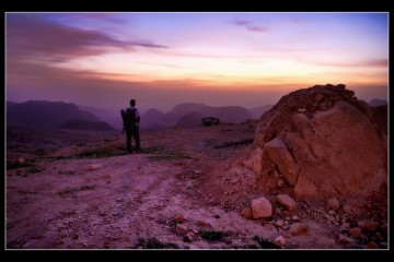 Pink Sunset Over Petra, Jordan