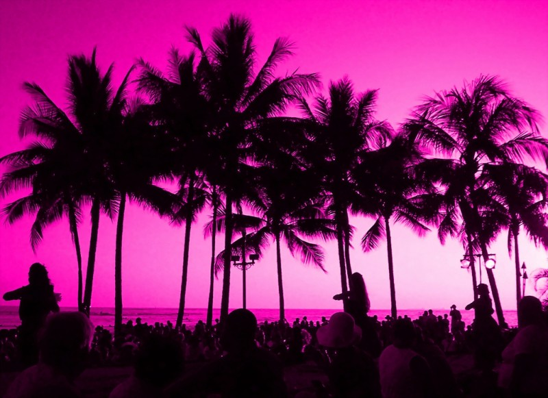 Pink Sunset, Waikiki Beach, Hawaii