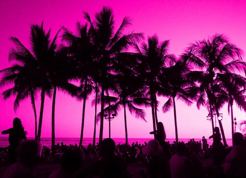 Pink Sunset, Waikiki Beach, Hawaii