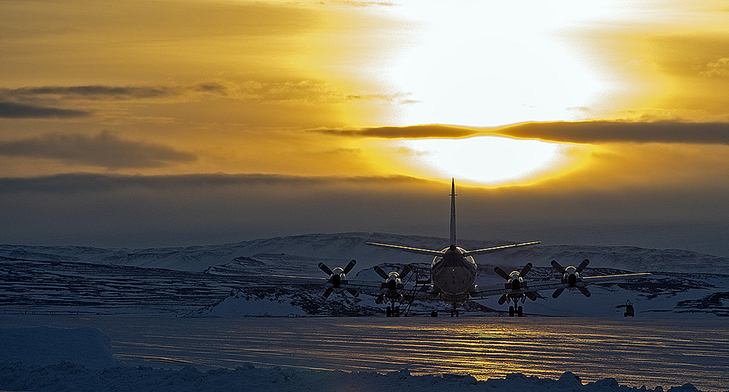 Plane ready for takeoff from the snow and ice of Greenland