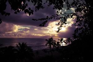 Purple sky at the beach, Barbados