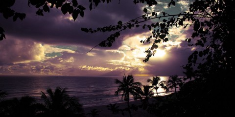 Purple sky at the beach, Barbados