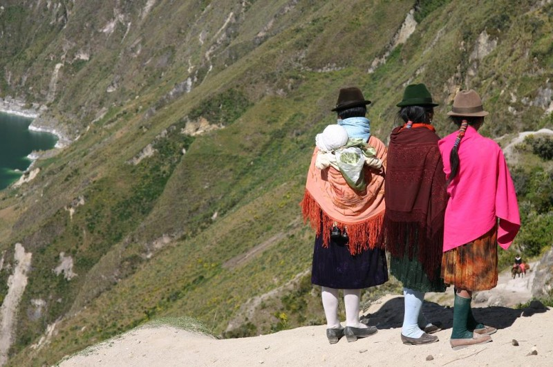 Quichua Women: Standing at the rim of the crater in typical, colorful clothing