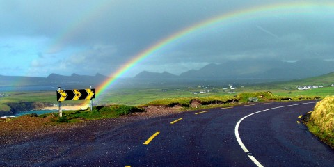 Rainbow Over a Green Road, Ireland