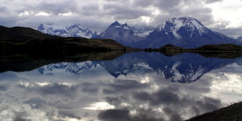 Reflecting in Torres del Paine, Patagonia