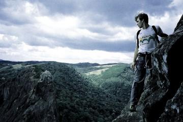 Man rockclimbing in Sao Paulo, Brazil